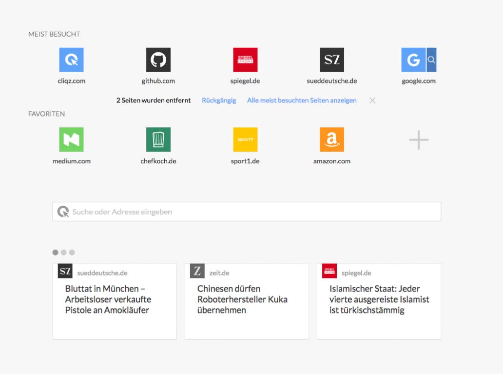 Screenshot Cliqz Browser neue Startseite und Neuer Tab
