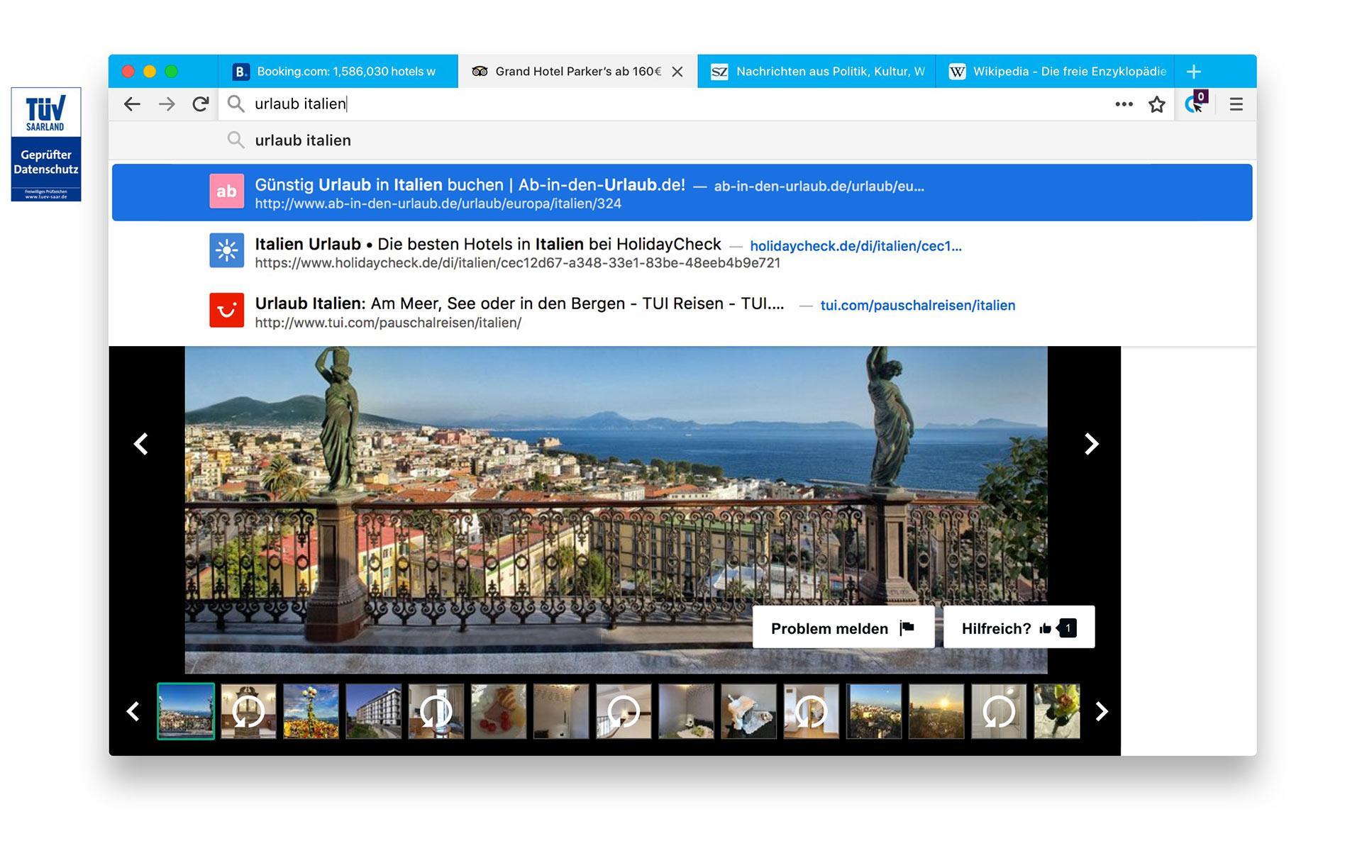 Cliqz Desktop Browser Screenshot
