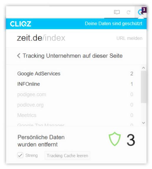 Screenshot Control Center Cliqz