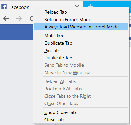 Screenshot Cliqz Browser Forget Mode Always On