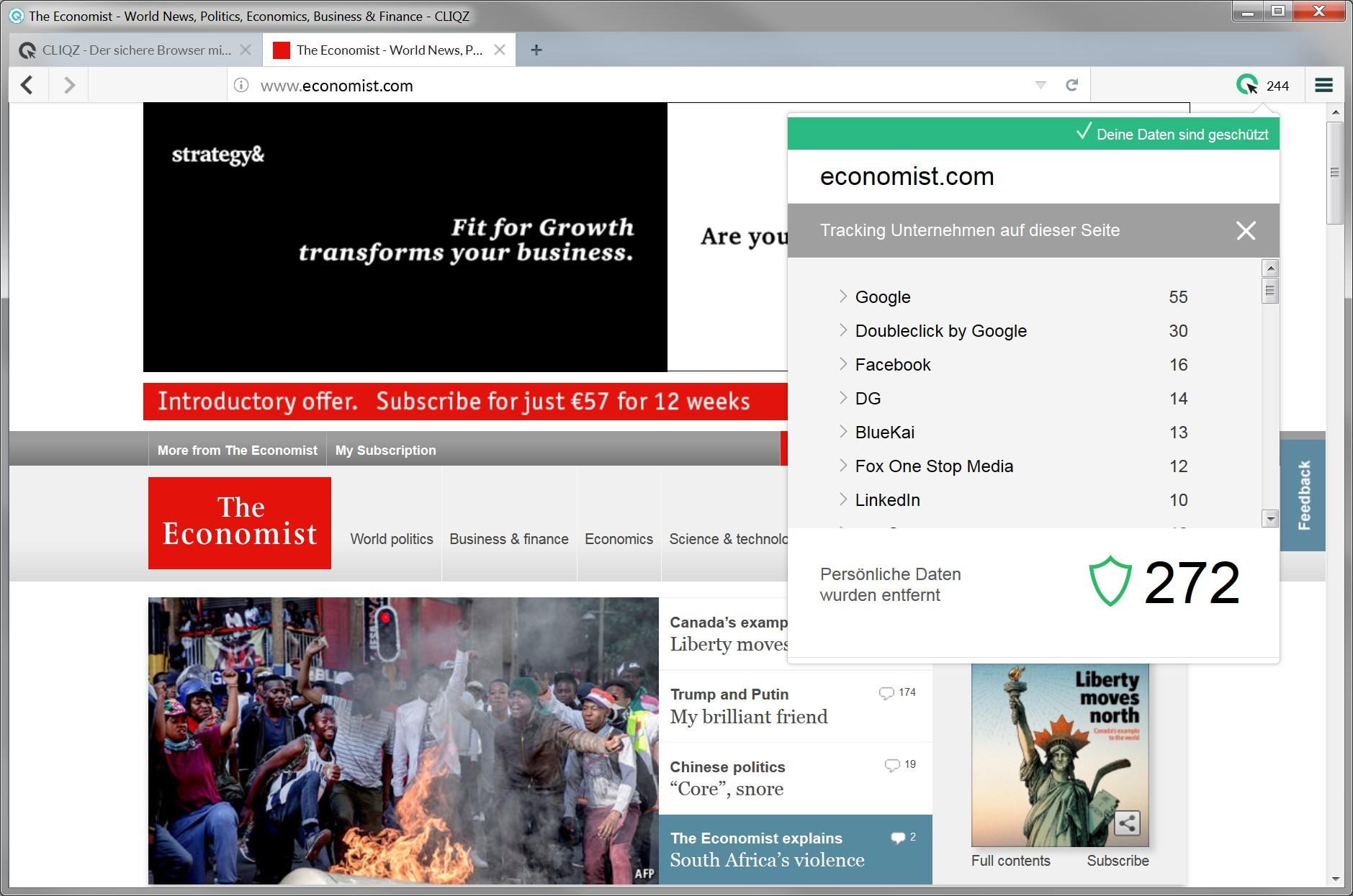 Der Cliqz Browser schützt vor Tracking. Nutzer sehen außerdem, wer Daten abzugreifen versucht.