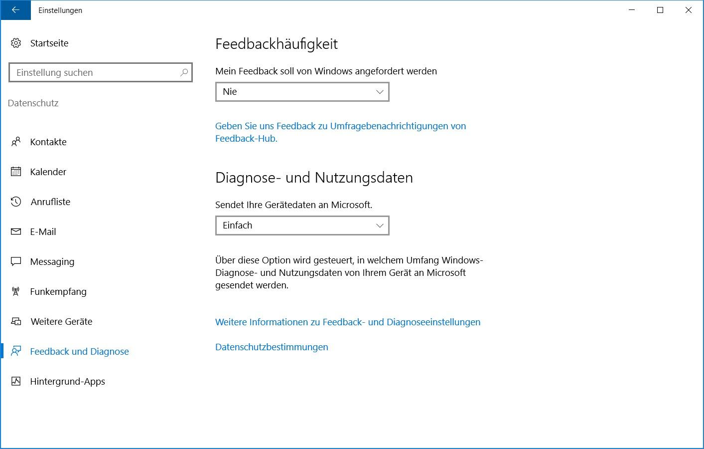 Windows 10 Datenschutz Feedback und Diagnose