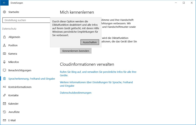 Windows 10 Datenschutz Spracherkennung
