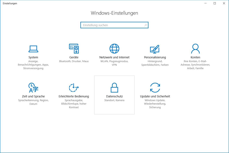 Windows-Einstellungen Datenschutz