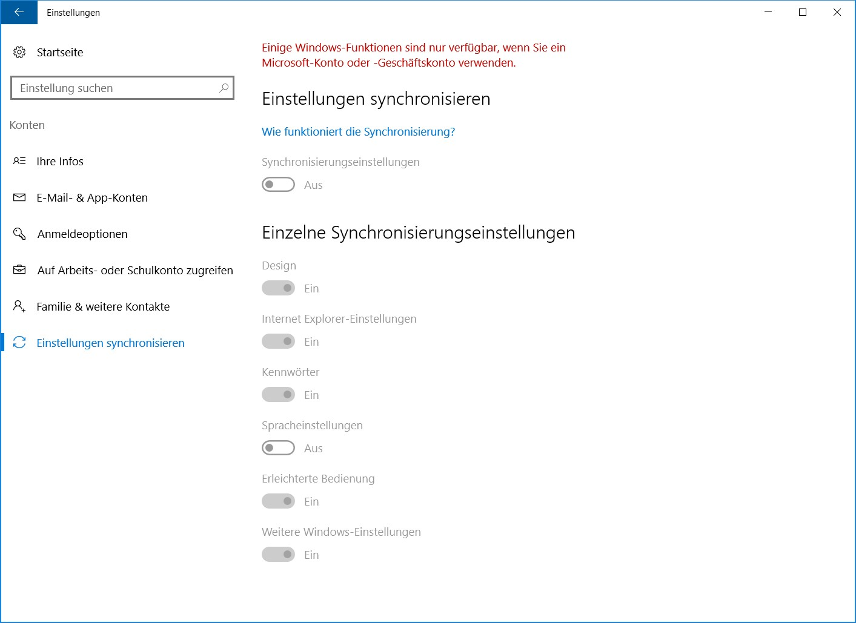Windows 10 Konten Einstellungen synchronisieren