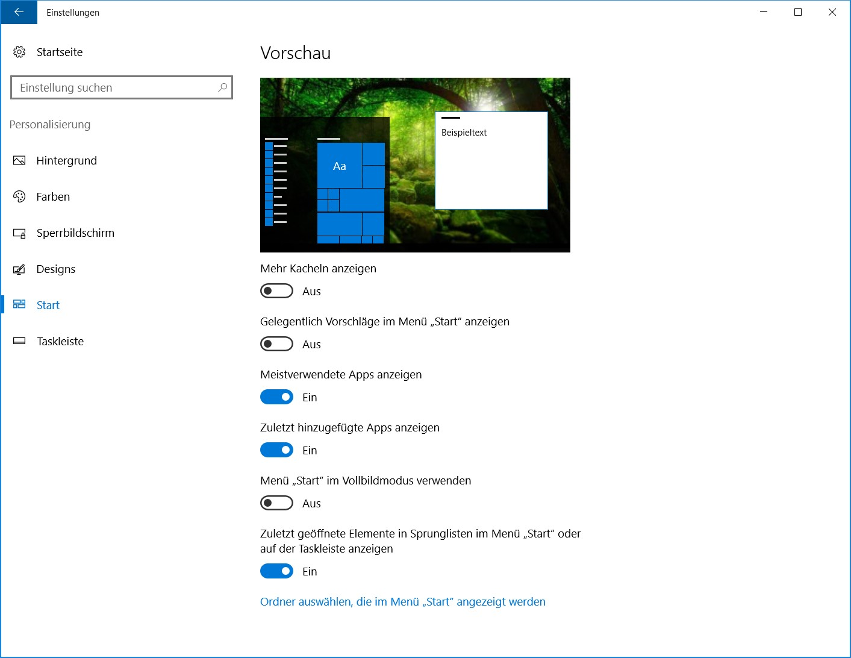 Windows 10 Personalisierung Start