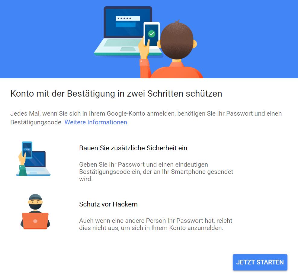 Bestätigung in zwei Schritten bei Google einrichten (Screenshot)