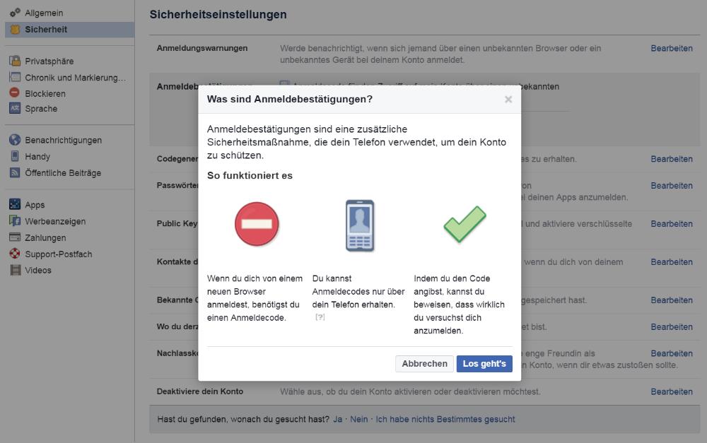 Anmeldebestätigungen bei Facebook einrichten (Screenshot)