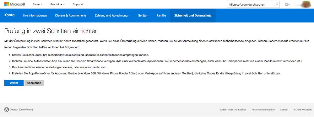 Prüfung in zwei Schritten bei Microsoft einrichten (Screenshot)