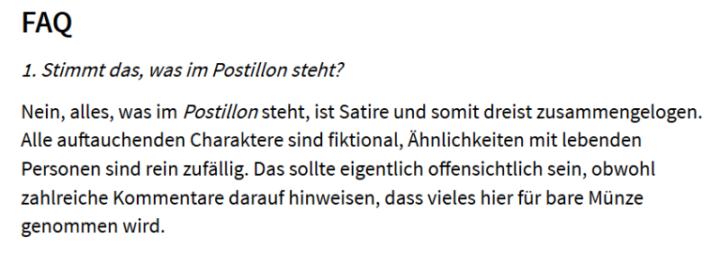 """Laut Postillon sind seine Meldungen """"dreist zusammengelogen""""."""