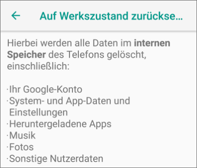 Factory Reset unter Android
