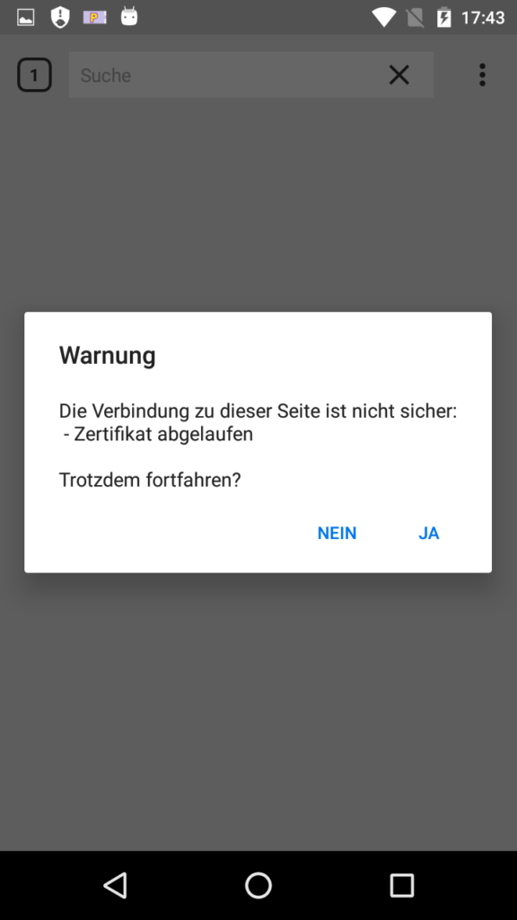 Zertifikat-Warnung Cliqz for Android
