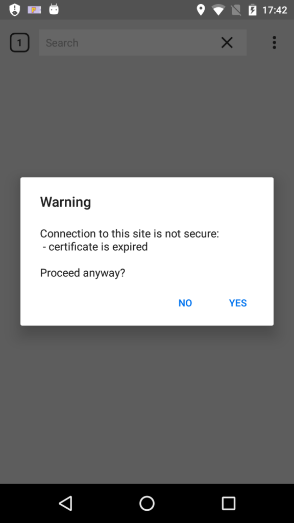 Certificate warning Cliqz for Android