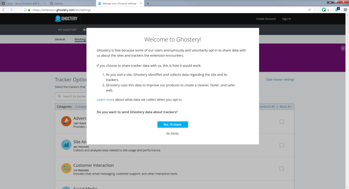 Install Ghostery in Cliqz browser - step 4