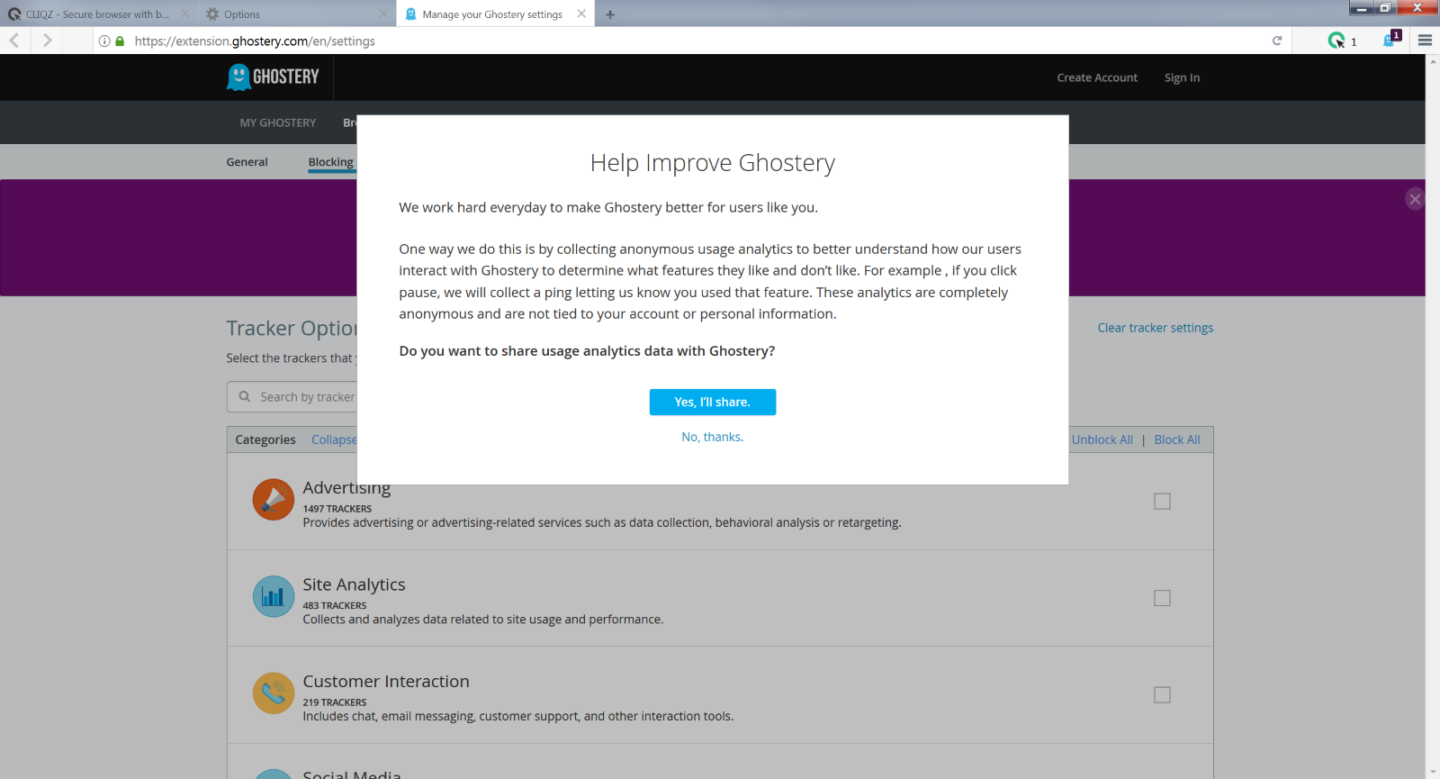 Install Ghostery in Cliqz browser - step 5