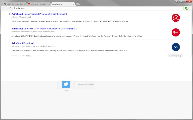 Mit Avira Scout steht die Cliqz-Schnellsuche nun auch in einem Chromium-basierten Browser zur Verfügung.