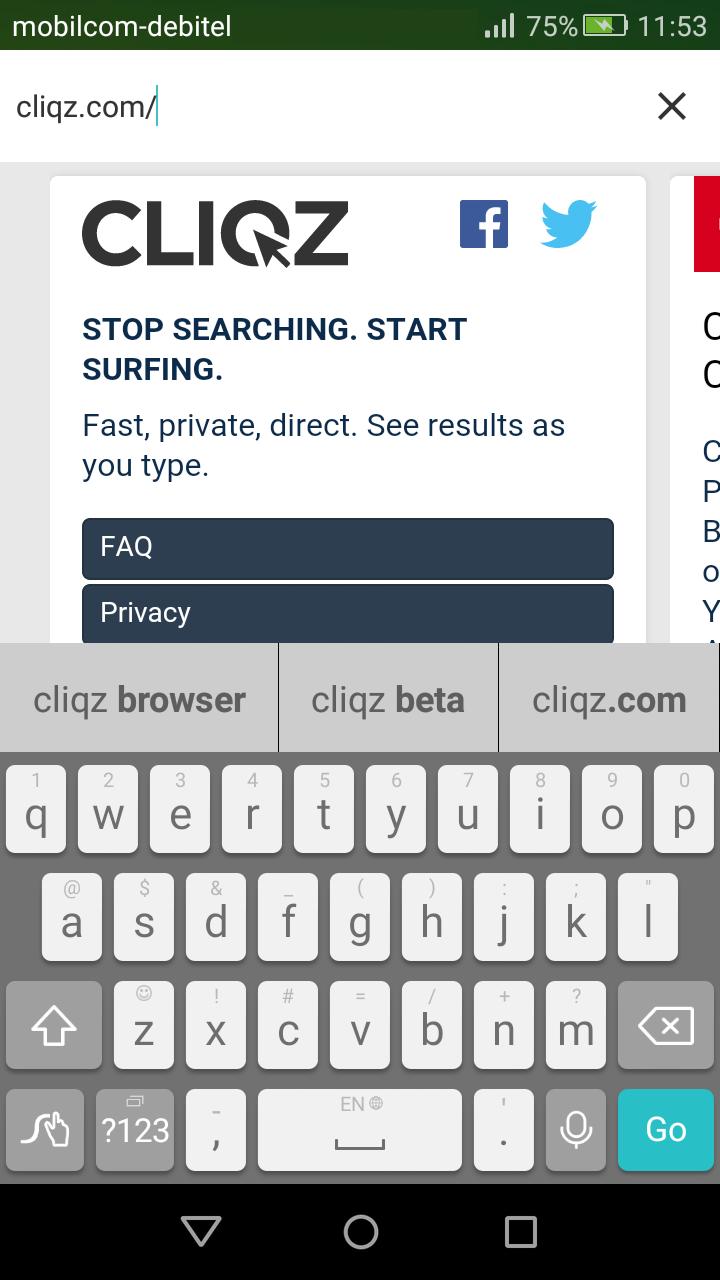 Suchvorschläge in Cliqz für Android