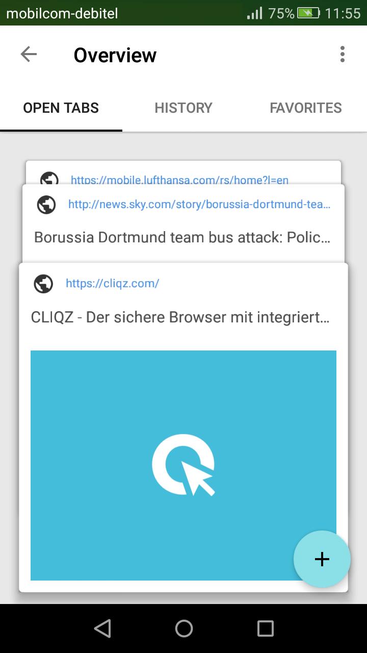 Tab-Übersicht in Cliqz für Android