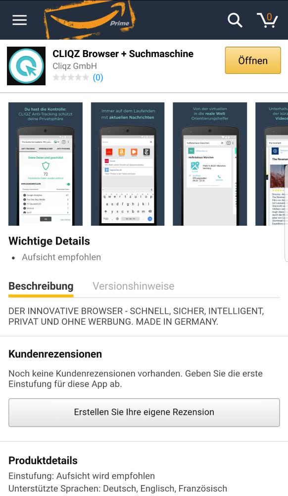 Cliqz im Amazon Appstore