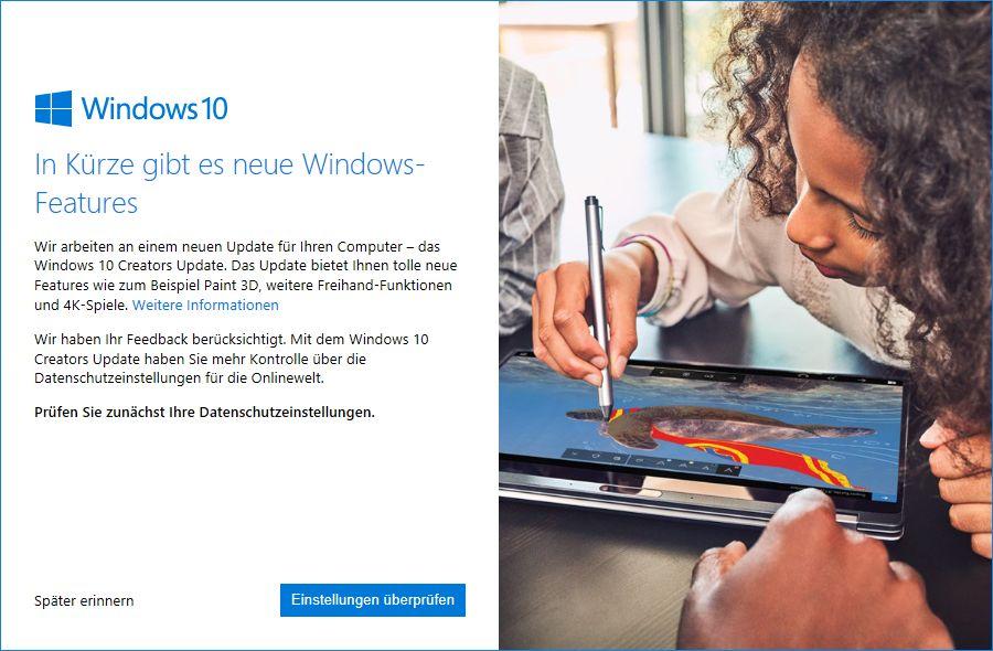 Microsoft informiert Windows-10-Nutzer mit diesem Bildschirm, sobald sie das Creators Update installieren können.