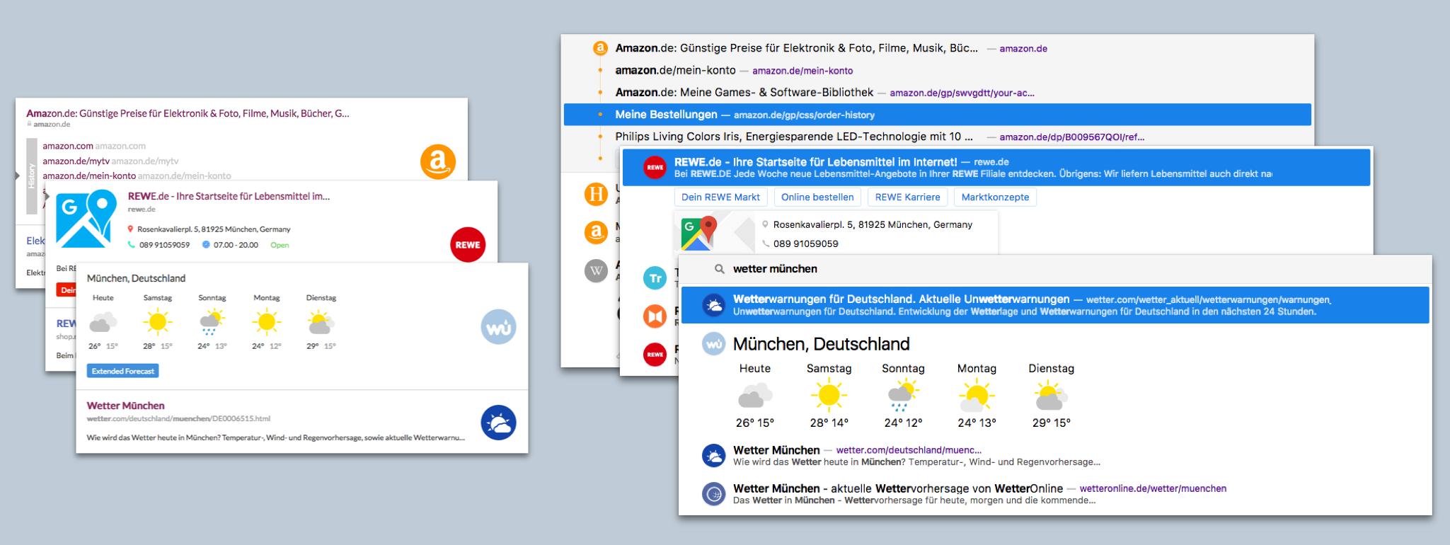 Die alte (links) und neue Cliqz-Suchoberfläche im Vergleich.