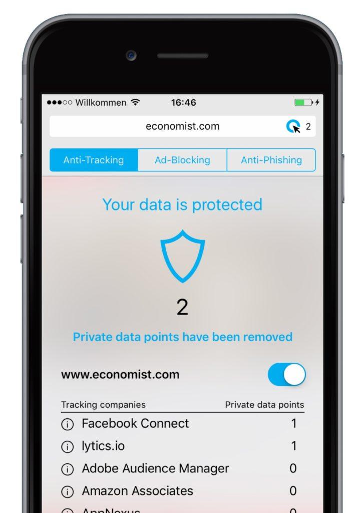 Cliqz for iOS anti-tracking