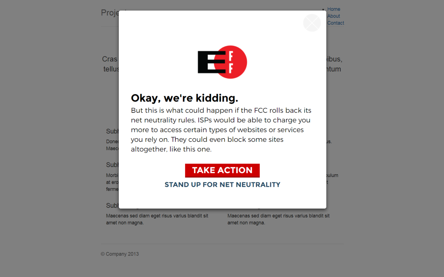 Users can stand up for net neutrality by submitting a letter to the FCC and Congress (Source: EFF).