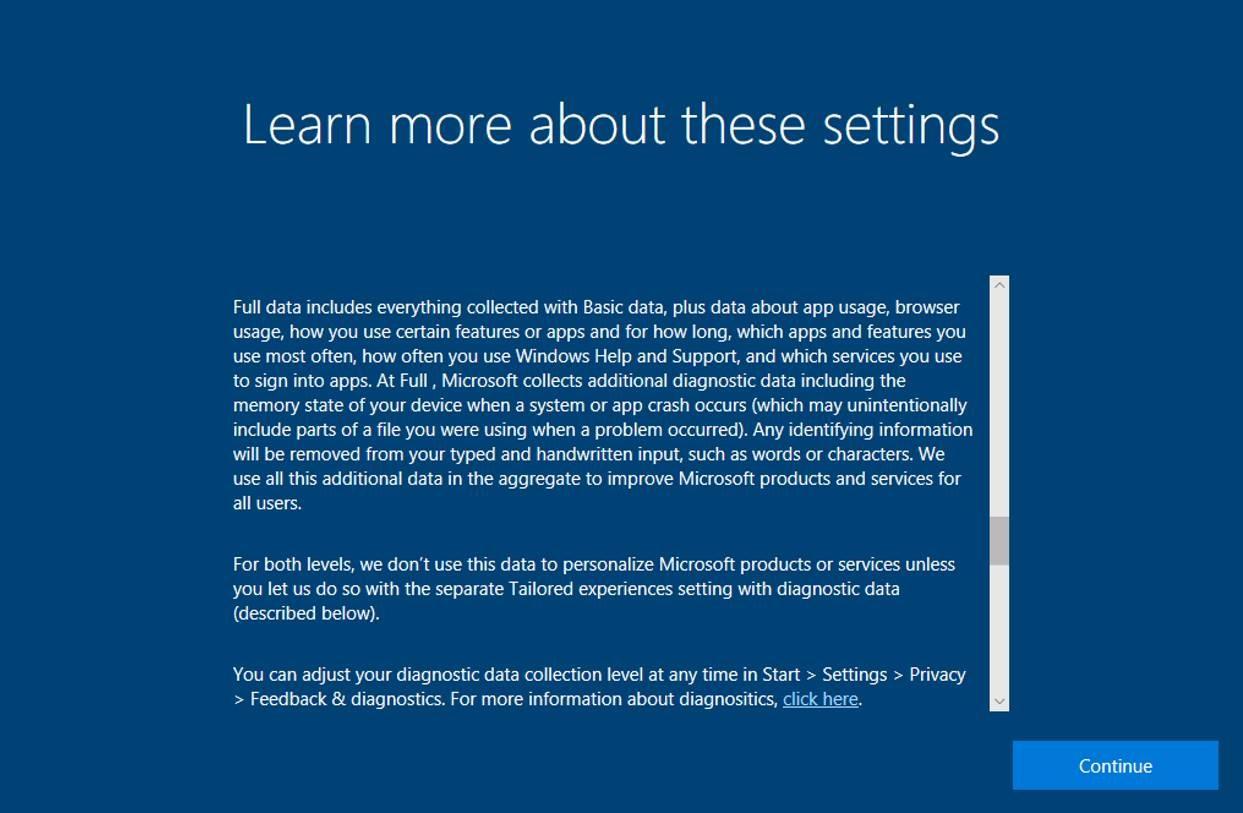 Das Fall Creators Update zeigt beim Einrichten von Windows 10 detailliertere Datenschutzinfos an (Bild: Microsoft).