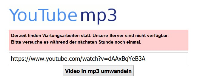 YouTube-mp3.org funktioniert nicht mehr (Screenshot: Cliqz)