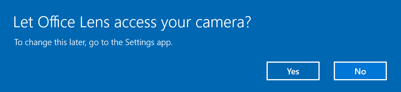 Apps now ask for permission to access device functions like the camera (Source: Microsoft).