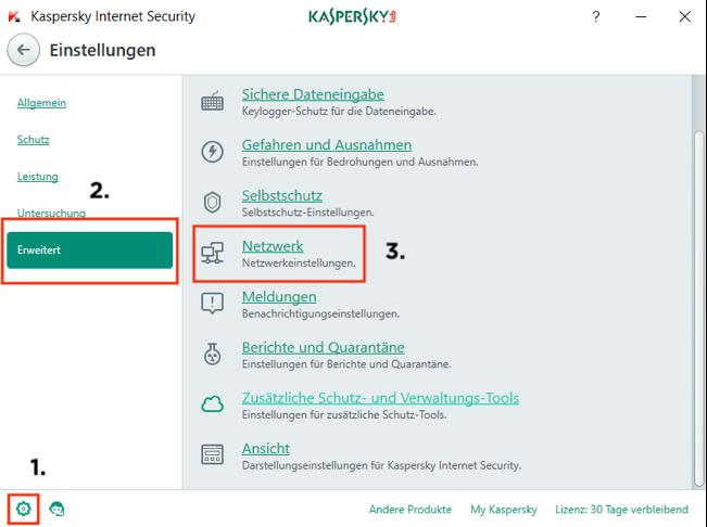 Kaspersky Internet Security Einstellungen (Screenshot)