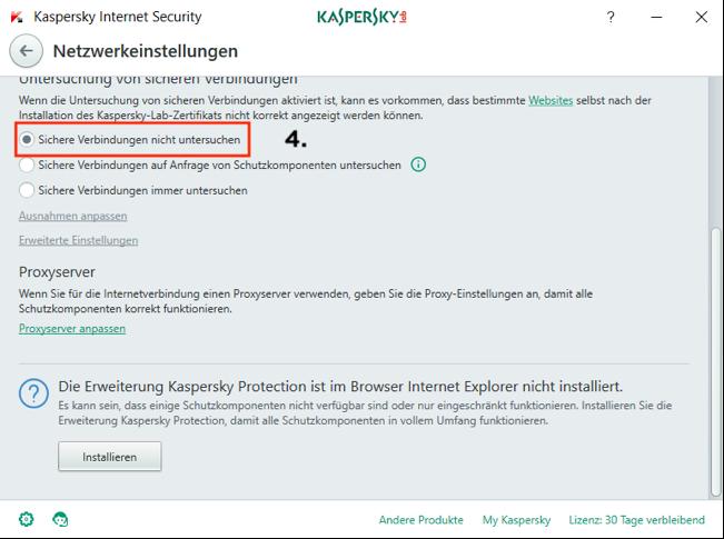 Kaspersky Internet Security Netzwerkeinstellungen (Screenshot)