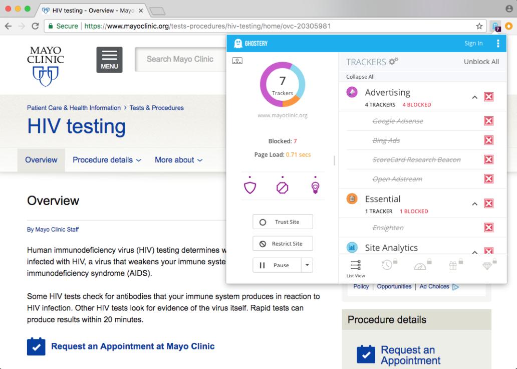 Datenschutz versagt: Tracking-Firmen können potenziell mitlesen, wer einen HIV-Test machen möchte.