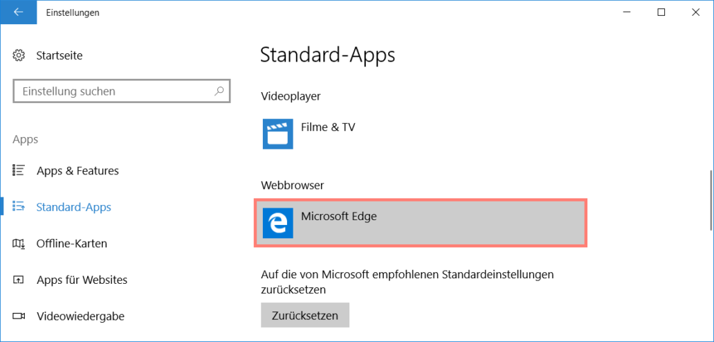 Standard-Apps: Webbrowser