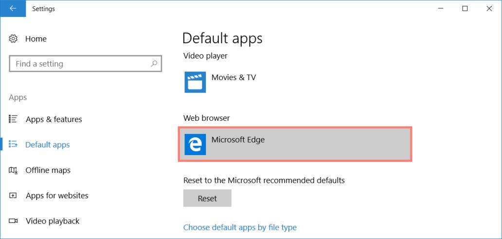 Default apps: Web browser