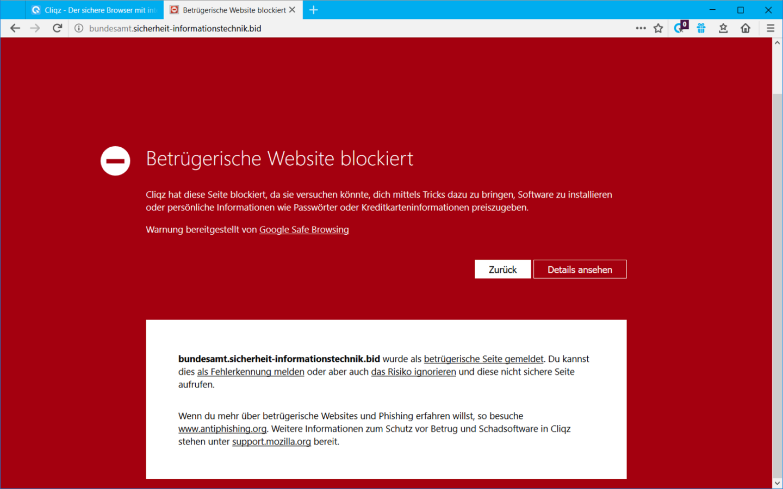 Cliqz warnt Besucher vor der gefälschten BSI-Webseite.