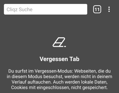 Vergessen Tab in Cliqz für Android