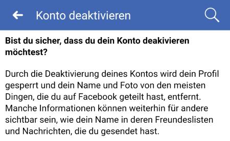Facebook-Konto deaktivieren