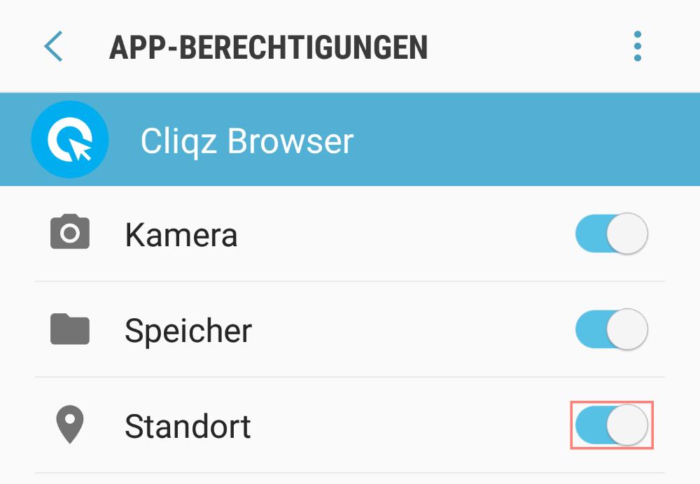 Der Cliqz Browser benötigt Zugriff auf den Standort, um lokale Nachrichten anzeigen zu können.
