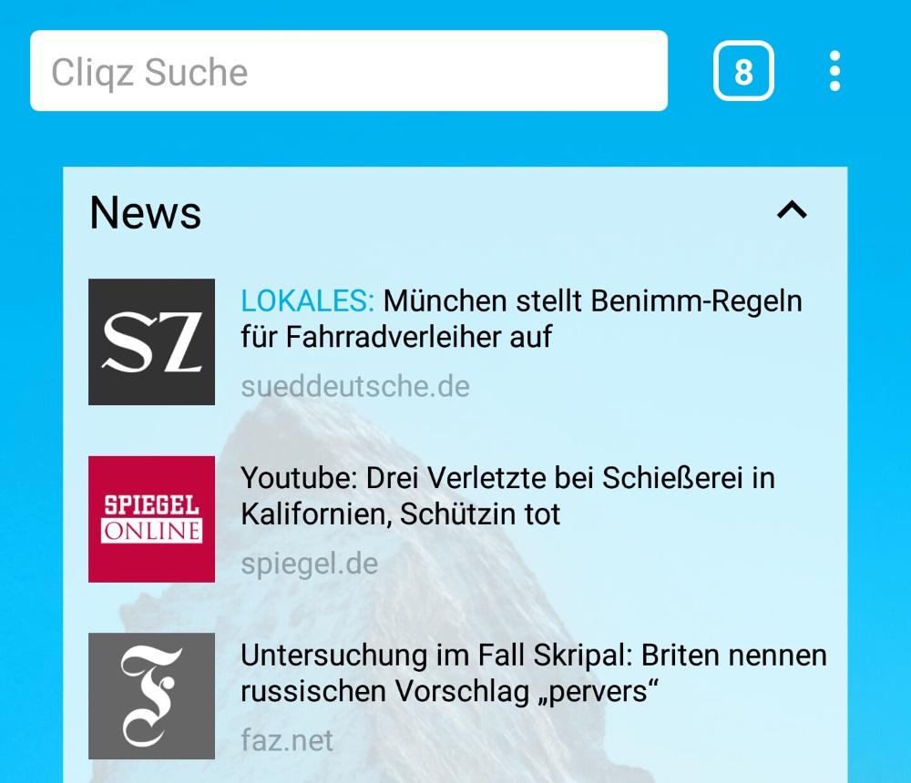 Lokale Nachrichten in Cliqz für Android