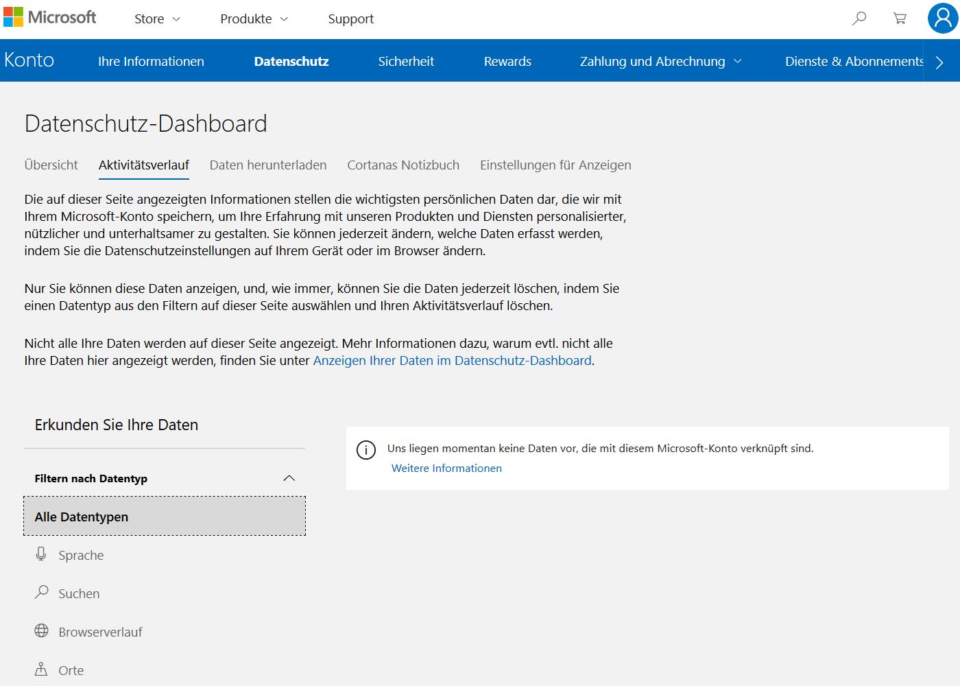 Über das Datenschutz-Dashboard können Windows-Nutzer ihren Aktivitätsverlauf einsehen und löschen.