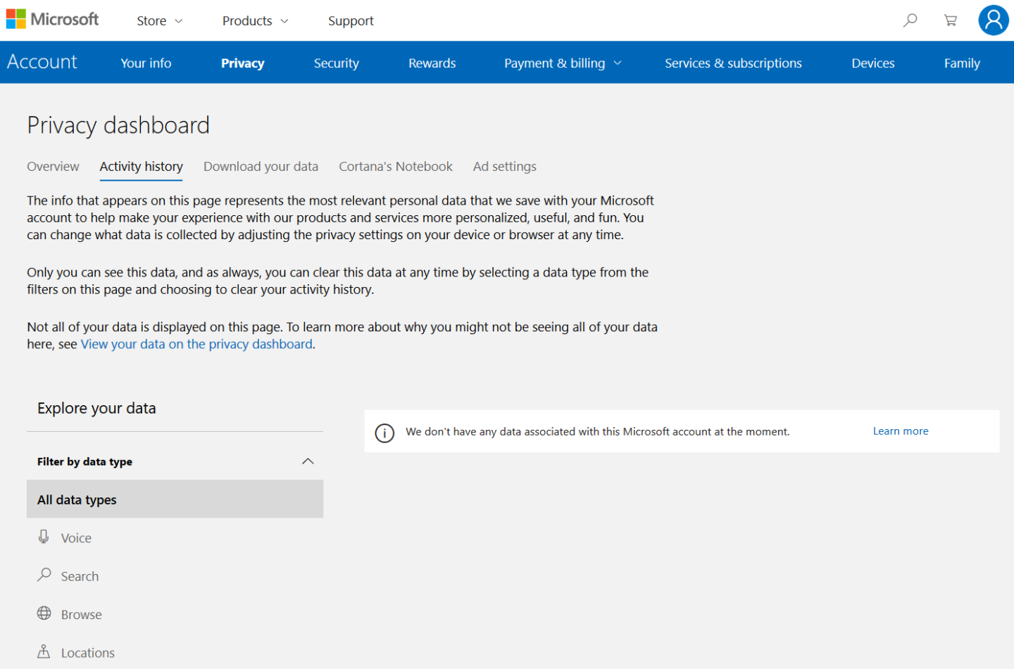 The privacy dashboard allows Windows users to view and delete their activity history.
