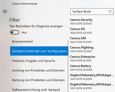 Diagnosedatenanzeige (Bild: Microsoft)