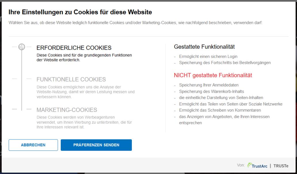 TrustArc: Fenster mit Cookie-Einstellungen