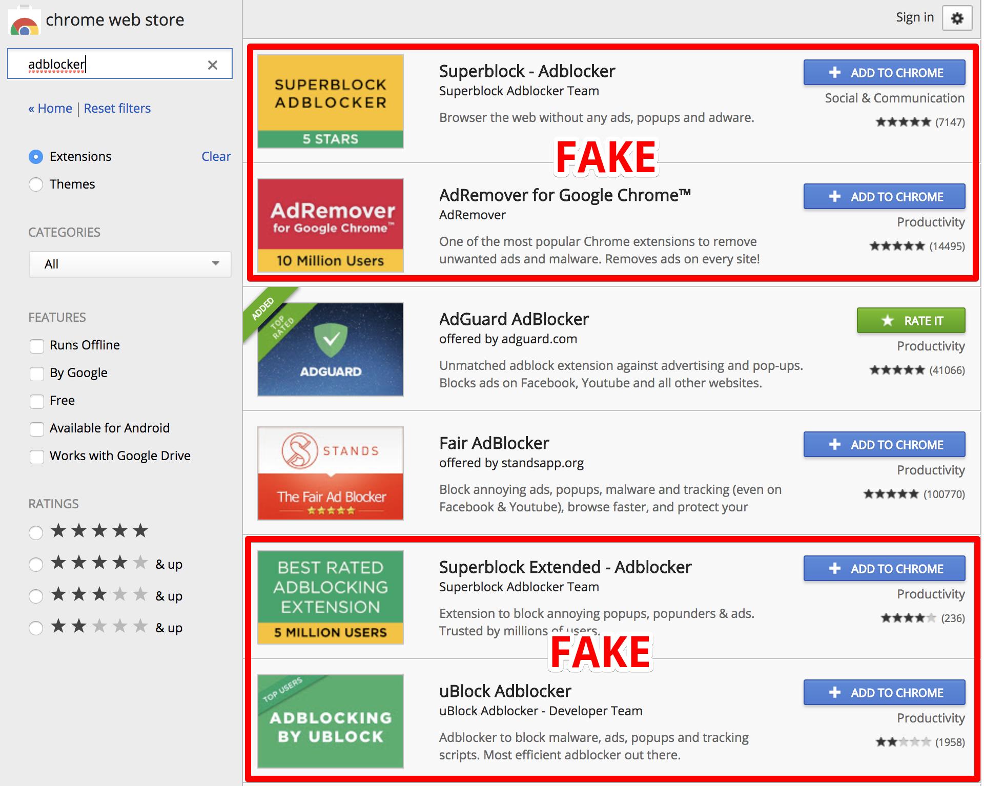 Von AdGuard im Chrome Web Store entdeckte Fake Adblocker, die Google inzwischen entfernt hat (Bild: AdGuard).