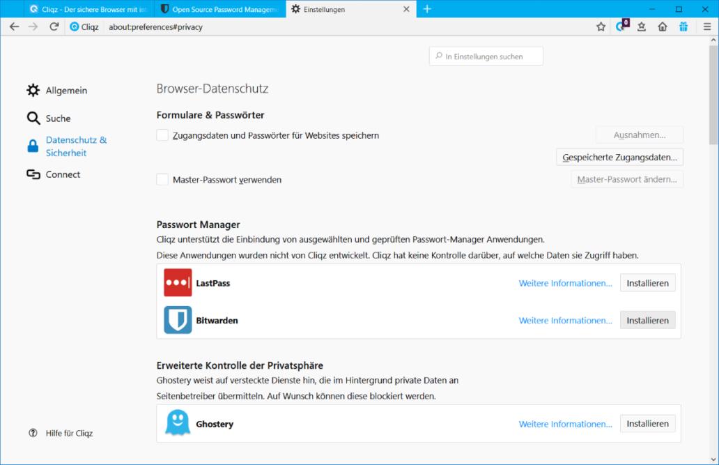 Der Cliqz Browser unterstützt nur geprüfte Erweiterungen wie LastPass, Bitwarden oder Ghostery.