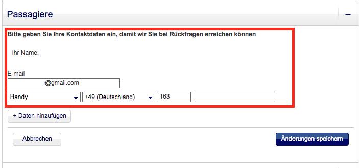 Die Lufthansa-Buchungsdetailseite verrät Kontaktdaten wie Name, E-Mail-Adresse und Telefonnummer.