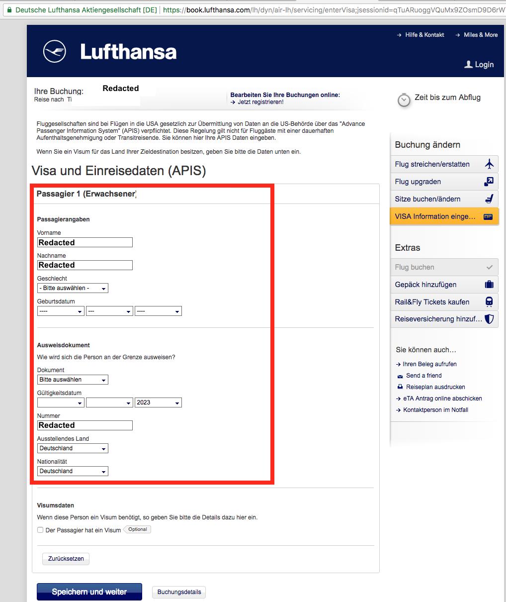 Selbst Ausweisdaten lassen sich auf der Lufthansa-Buchungsdetailseite ohne Authentifizierung einsehen oder sogar ändern.