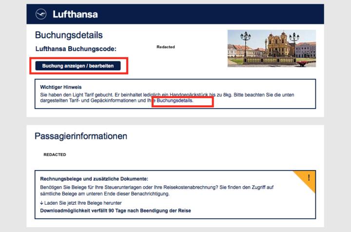 Wie hier bei Lufthansa führen Links in Bestätigungsmails häufig ohne erneute Anmeldung direkt zu einer Übersichtsseite mit allen Buchungsdetails.