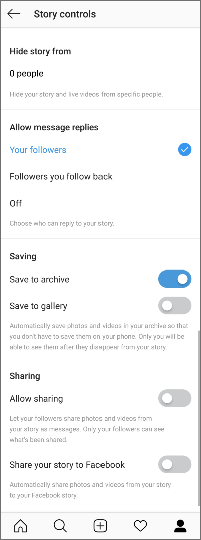 Instagram: Story controls